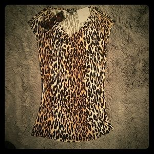 Nwt! Ellen Tracey leopard tunic top M